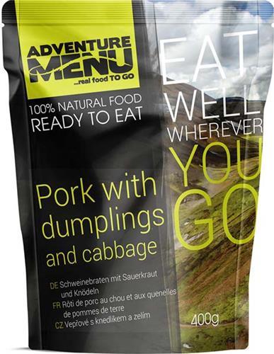 Ration humide. Rôti de porc au chou et aux quenelles de pommes de terre.